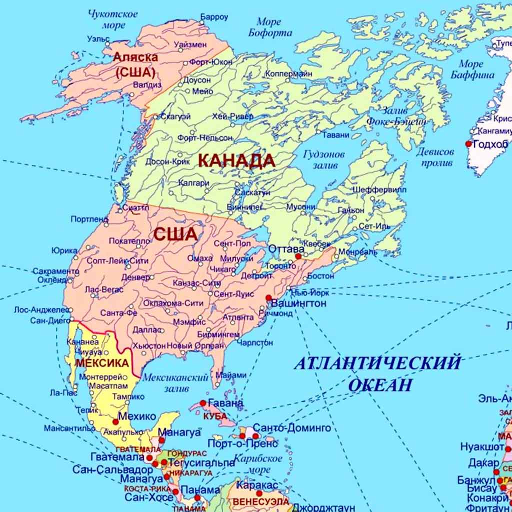 Карта Северной америки Какие страны находятся в Северной америке  Карта Северной америки Столицы государств в Северной америке фото