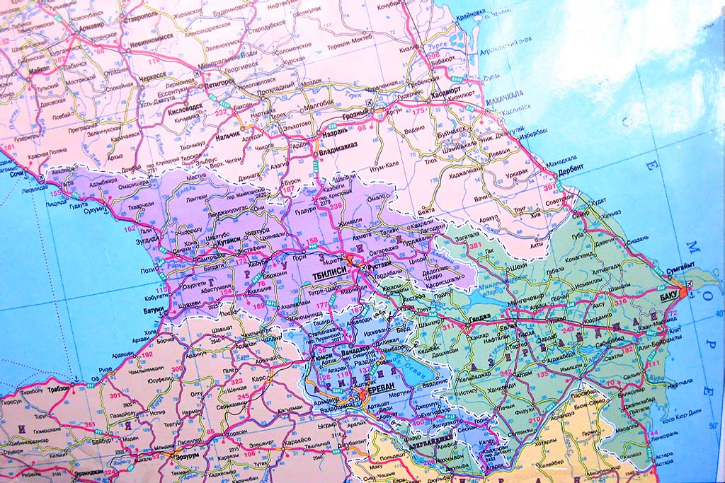 Карта Кавказа. Карта дорог