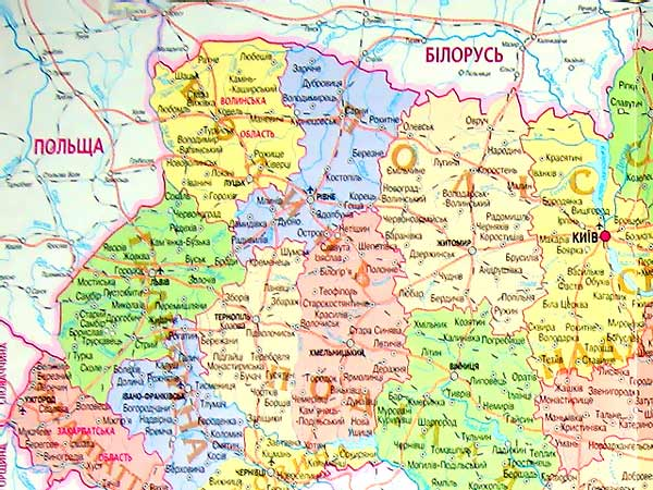 Карта Украины. Киев. Ковель.