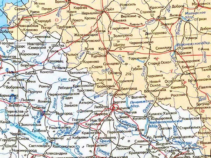 Карта Украины. Чернигов. Сумы.