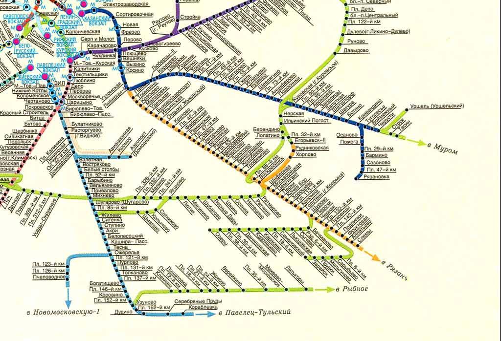электричек в Москве. Карта