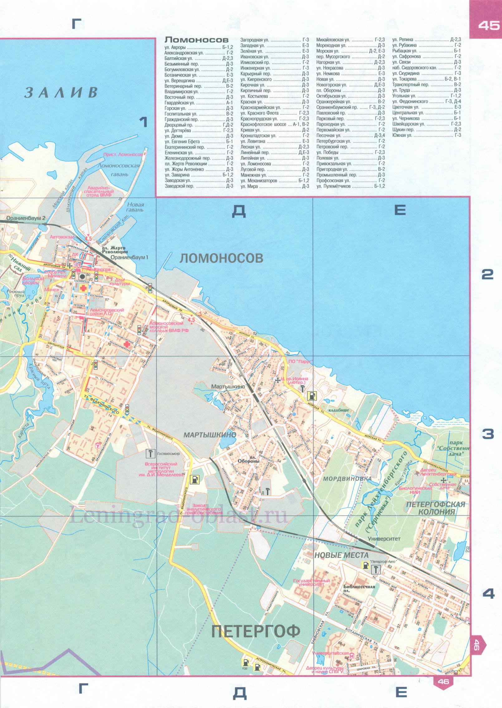 Карта Ломоносова. Административный центр, Достопримечательности ...