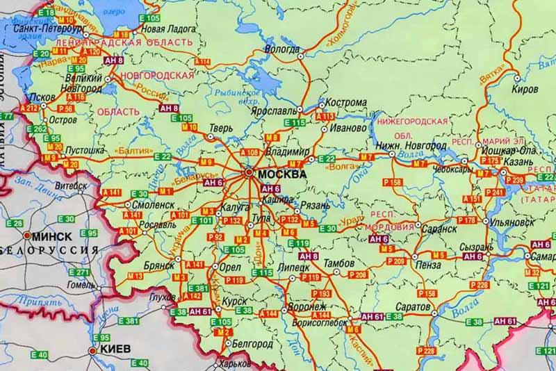 Карта дорог России.