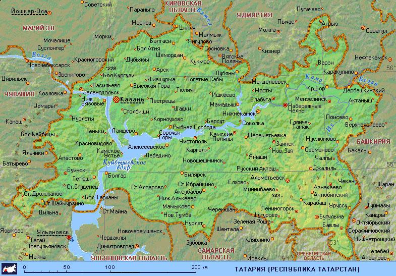 Карта Татарстана. Город