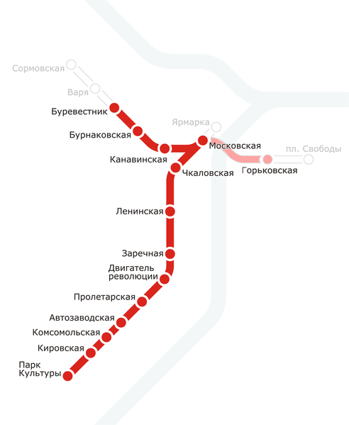 Схема метро в Нижнем Новгороде