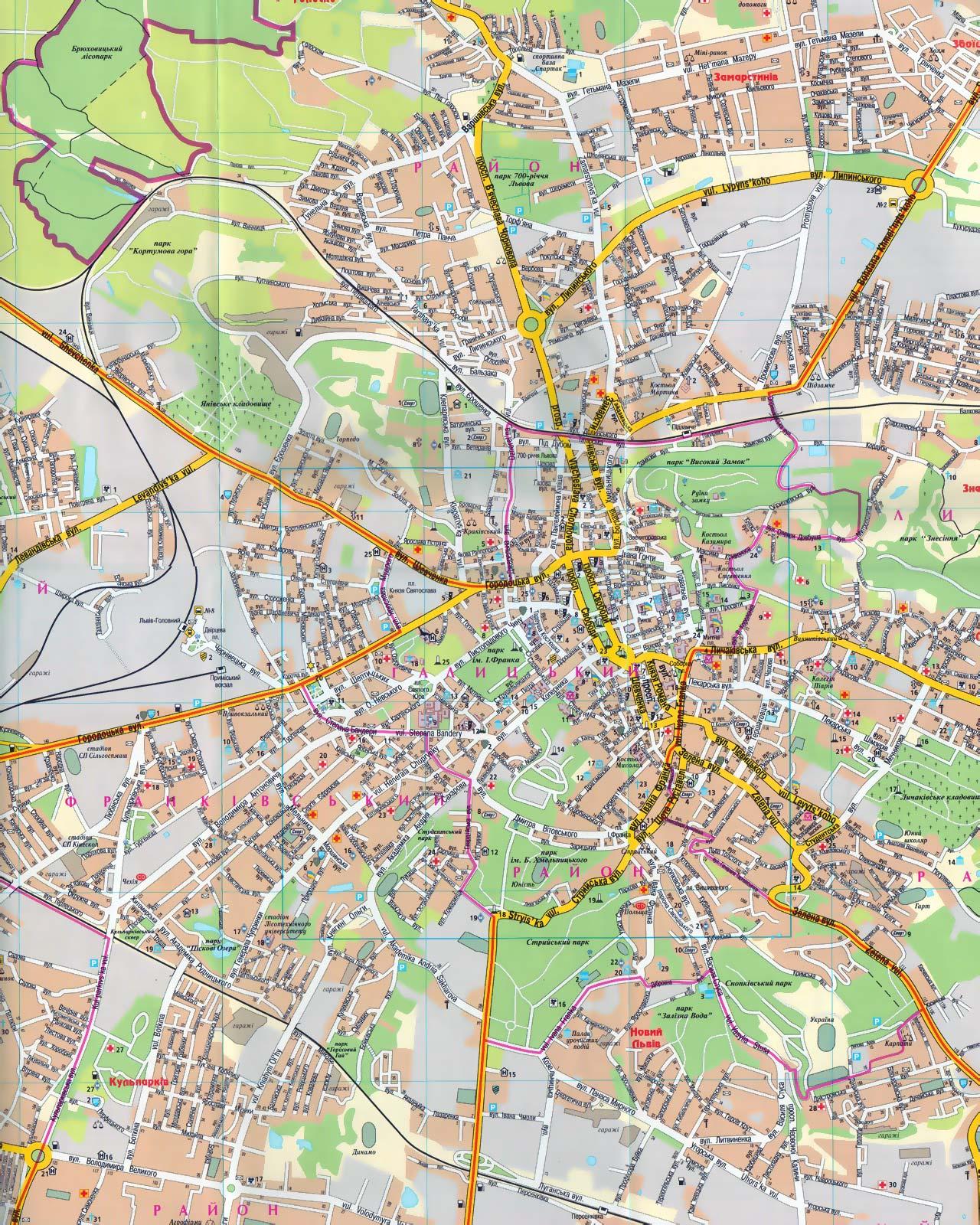 Карта Львова Карта окрестностей Львова Карта центра города  Карта Львова Карта центра города